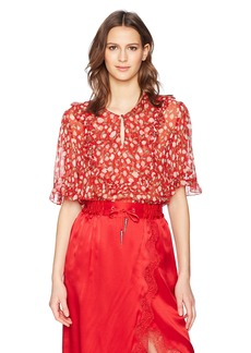 The Kooples Women's Rose Print Ruffle Blouse red