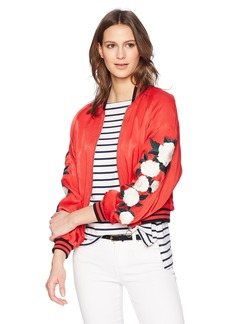 The Kooples Women's Satin Viscose Embroidered Jacket red