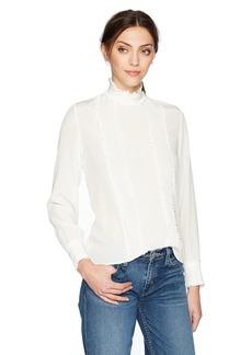 The Kooples Women's Silk Ruffled High Neck Top
