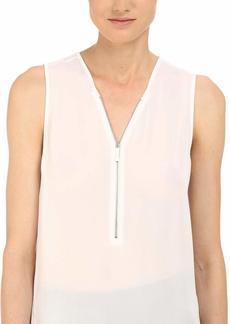 The Kooples Women's Tank Top in Silk and Jersey with a Zip Neckline  XXS