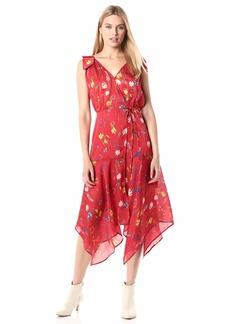 The Kooples Women's Women's Asymmetrical Midi Dress with Floral Print