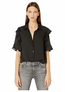 The Kooples Women's Women's Button-Down Short-Sleeved Top with Ruffles
