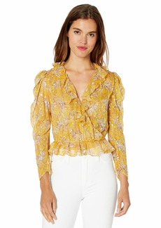 The Kooples Women's Women's Cropped Top with Ruffled Collar in a Floral Print