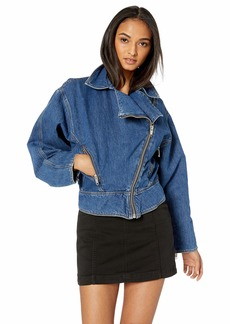 The Kooples Women's Women's Denim Jacket with Diagonal Zipper Blue
