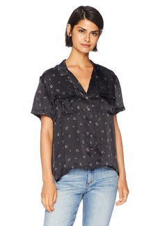 The Kooples Women's Women's Floral Print Button Down Blouse with Open Collar