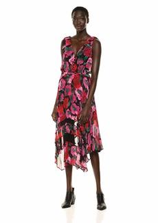 The Kooples Women's Women's Maxi Dress in a Dolce Vita Print Black-Fuchsia