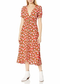 The Kooples Women's Maxi Silk Dress in a Flower Print red