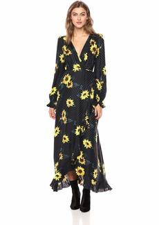 The Kooples Women's Women's Maxi Wrap Dress with Allover Sunflower Print