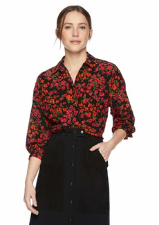 The Kooples Women's Women's Micro-Floral Button Down Shirt with Front Pockets