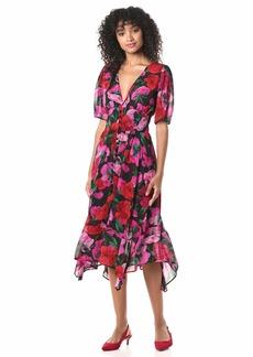 The Kooples Women's Women's Midi Black Summer Silk Dress in a Floral Print Fuchsia