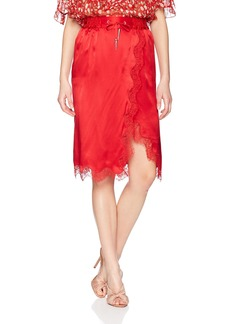 The Kooples Women's Women's Satin and Lace Skirt red