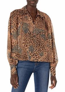 The Kooples Women's Semi-Sheer Basic Shirt with Puffed Sleeves and Animal Print