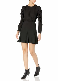 The Kooples Women's Short Dress with Cinched Elastic Waistline and Puff Sleeves BLA0