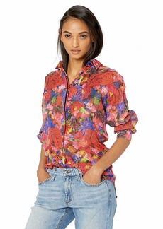 The Kooples Women's Women's Silk Button-Down Blouse in a Summer Night Floral Print BlackRed