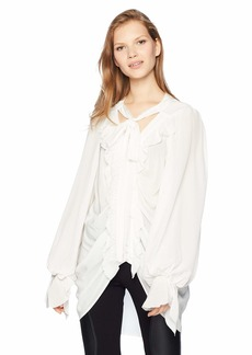 The Kooples Women's Women's V-Neck Blouse with Ruffled Front and Oversized Sleeve