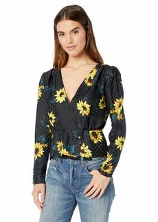 The Kooples Women's Women's V-Neck Blouse with Sunflower Print