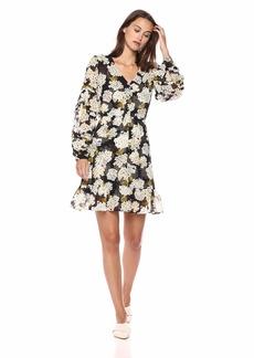 The Kooples Women's Women's V-Neck Long Sleeve Dress with a Hydrangea Print