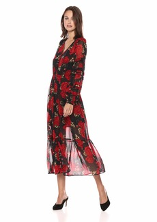 The Kooples Women's Women's V-Neck red Roses Dress with sinched Waist and Ruffled Sleeve Black