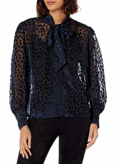 The Kooples Women's Woven Long Sleeved Top with Lavalliere Collar in a Burn Out Velvet-Like Fabric BLA59