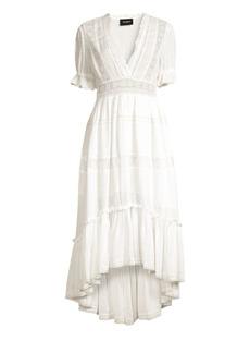 The Kooples V-Neck Lace Trim Midi Dress