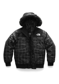 The North Face Gotham Down Hooded Grid Jacket w/ Faux-Fur Trim