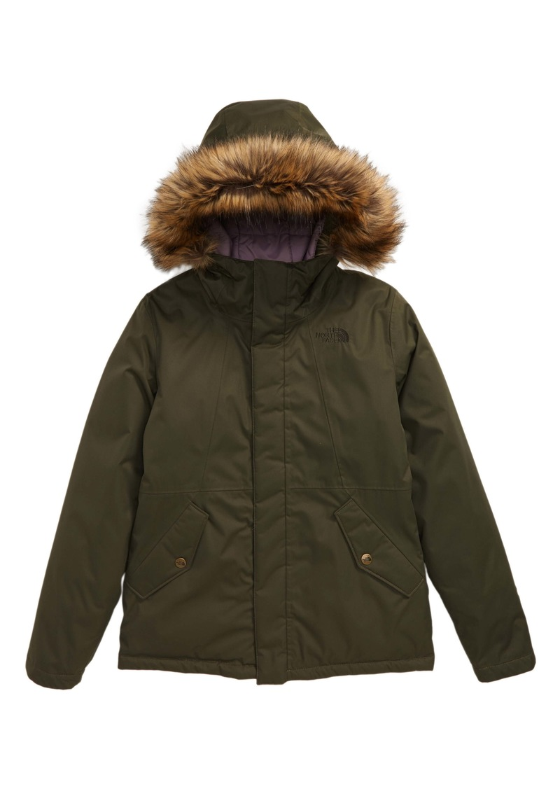 The North Face Greenland Waterproof 550 Fill Power Down Jacket with Faux Fur Trim (Big Girls)