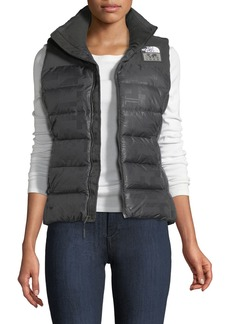 The North Face Nuptse Standard Zip-Front Down Puffer Vest with Flag-Print Lining