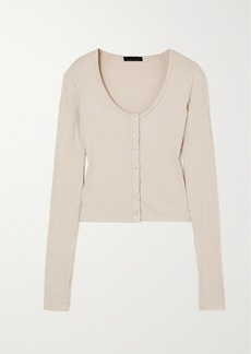 The Range Alloy Cropped Ribbed Stretch-knit Top