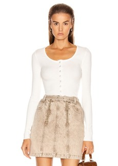 The Range Alloy Rib Cropped Button Down Top