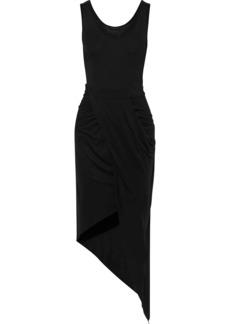The Range Woman Asymmetric Draped Modal-blend Jersey Dress Black