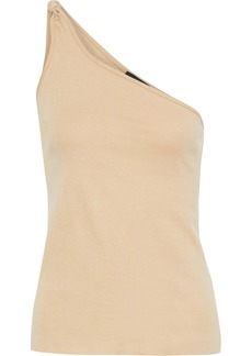 The Range Woman One-shoulder Knotted Linen-blend Jersey Top Sand