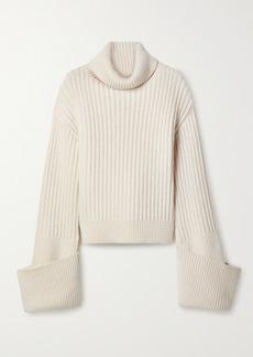 The Row Aneke Oversized Ribbed Wool Turtleneck Sweater