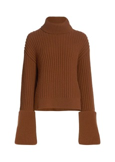 The Row Aneke Ribbed Wool Turtleneck Sweater