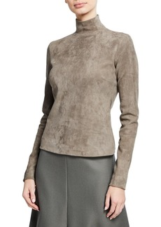 The Row Beatty Suede Mock-Neck Top