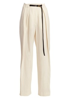The Row Brona Pleated Silk & Linen Trousers