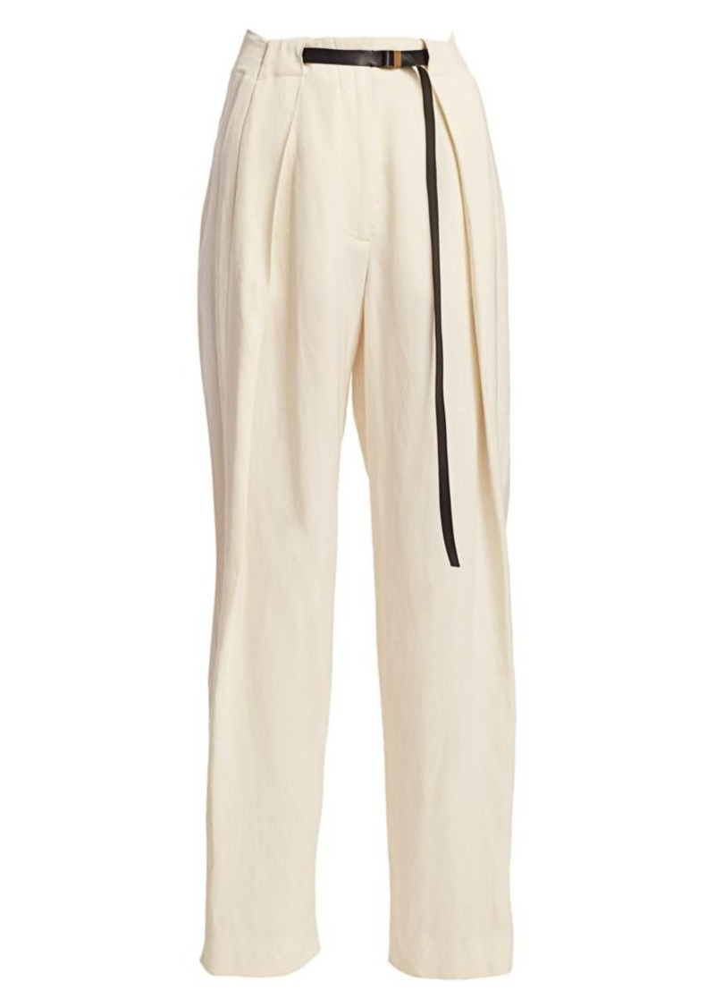 The Row Brona Pleated Silk & Linen Trousers