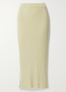 The Row Cannina Ribbed Silk And Cotton-blend Midi Skirt