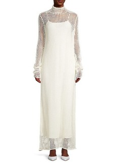 The Row Dieter Silk Woven Fishnet Long Dress