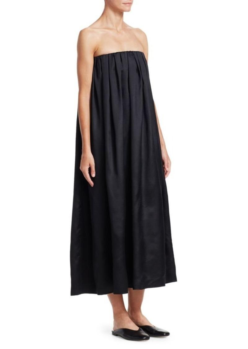 The Row Elliot Strapless Silk Midi Shift Dress