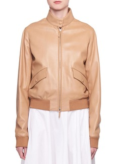 The Row Erhly Zip-Front Leather Bomber Jacket