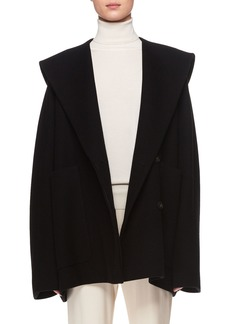 The Row Ernstly Hooded Button-Front Cotton-Wool Jacket