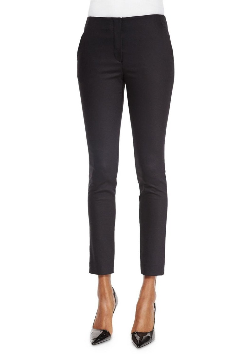 The Row Flat-Front Skinny Pants  Black