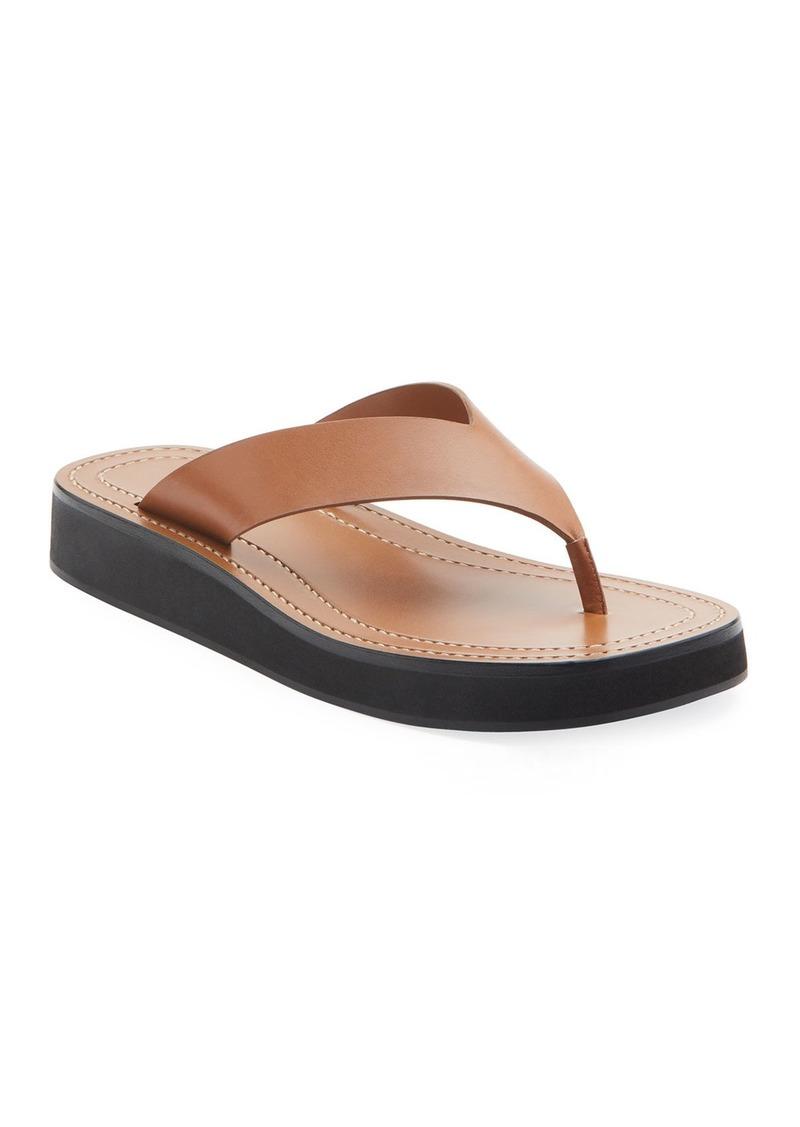 The Row Ginza Flip-Flop Smooth Calfskin Sandals