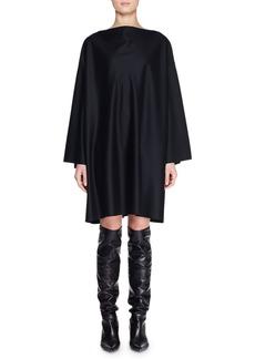 The Row Harper High-Neck Dolman-Sleeve Shift Knee-Length Wool Dress