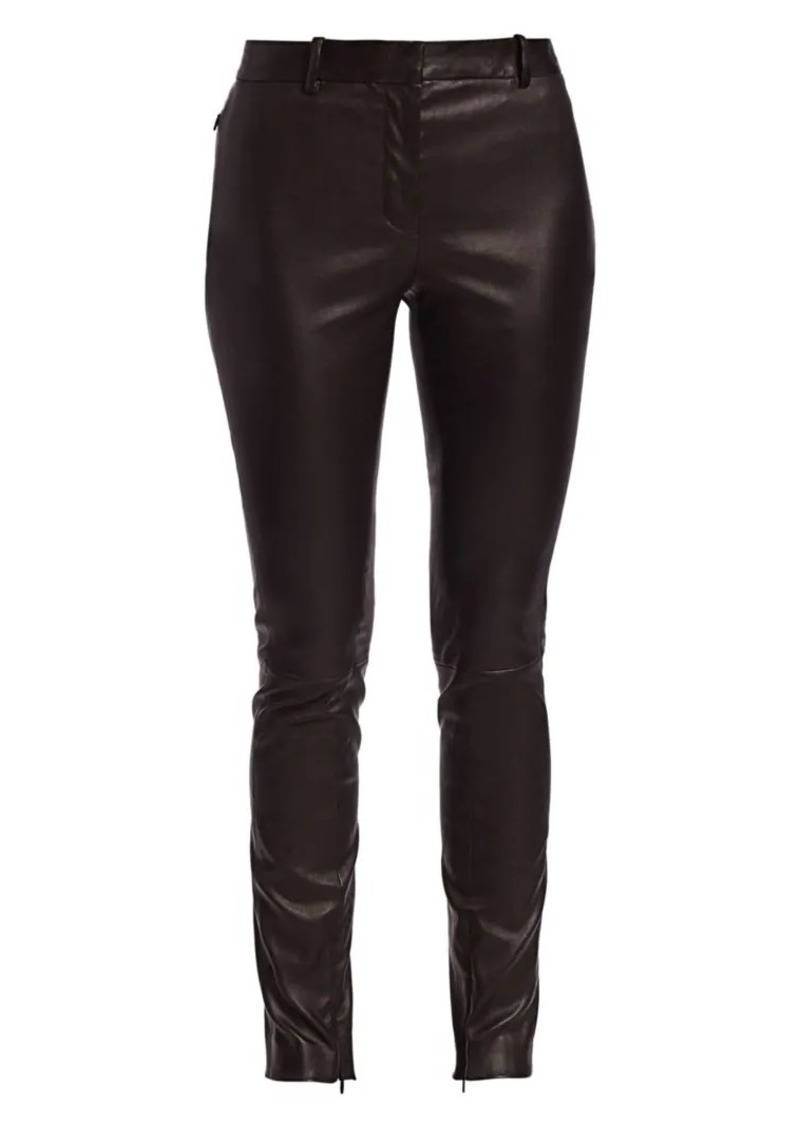 The Row Jodphur Leather Skinny Pants