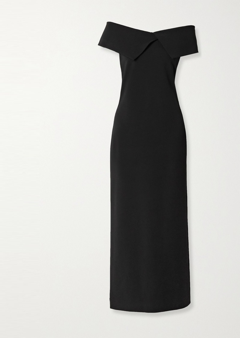 The Row Joni Off-the-shoulder Stretch-cady Maxi Dress