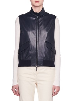 The Row Lehry Zip-Front Leather Vest