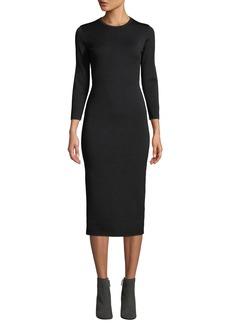 The Row Maidina Crewneck Long-Sleeve Body-con Midi Dress