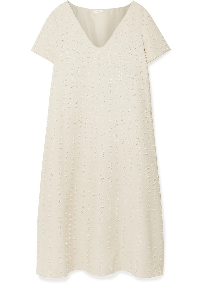 The Row Mattei Embellished Wool And Silk-blend Crepe Midi Dress