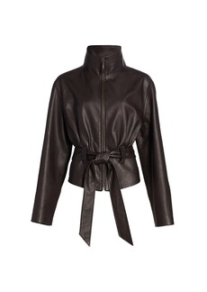 The Row Ramira Belted Leather Jacket